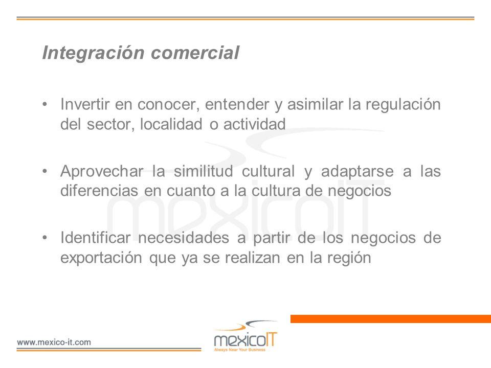 Integración comercial Invertir en conocer, entender y asimilar la regulación del sector, localidad o actividad Aprovechar la similitud cultural y adap