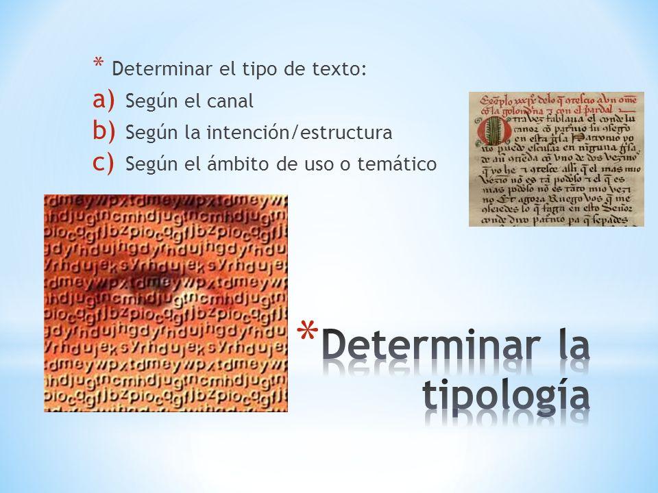 * Determinar el tipo de texto: a) Según el canal b) Según la intención/estructura c) Según el ámbito de uso o temático