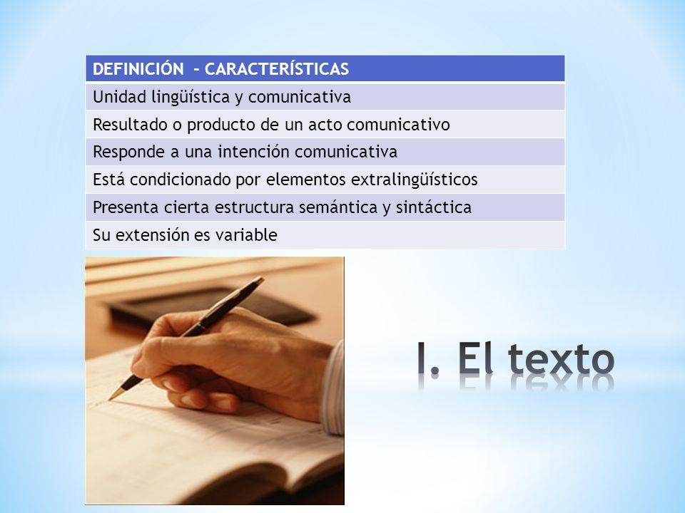 DEFINICIÓN - CARACTERÍSTICAS Unidad lingüística y comunicativa Resultado o producto de un acto comunicativo Responde a una intención comunicativa Está