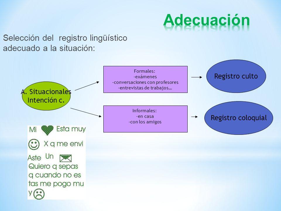 Selección del registro lingüístico adecuado a la situación: A. Situacionales Intención c. Registro culto Formales: -exámenes -conversaciones con profe