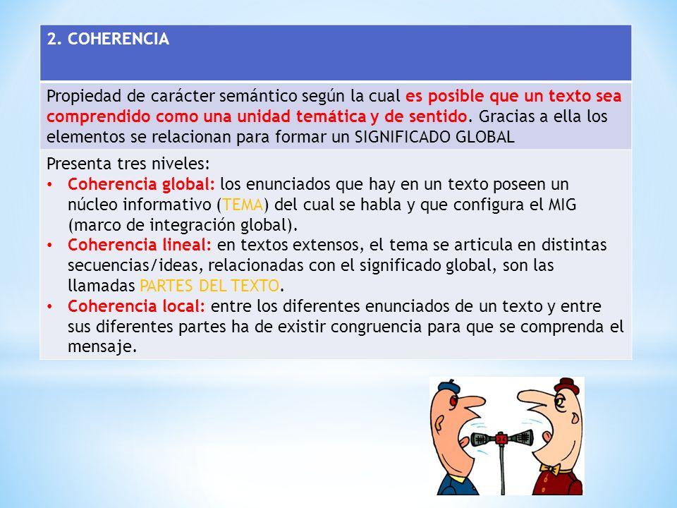 2. COHERENCIA Propiedad de carácter semántico según la cual es posible que un texto sea comprendido como una unidad temática y de sentido. Gracias a e