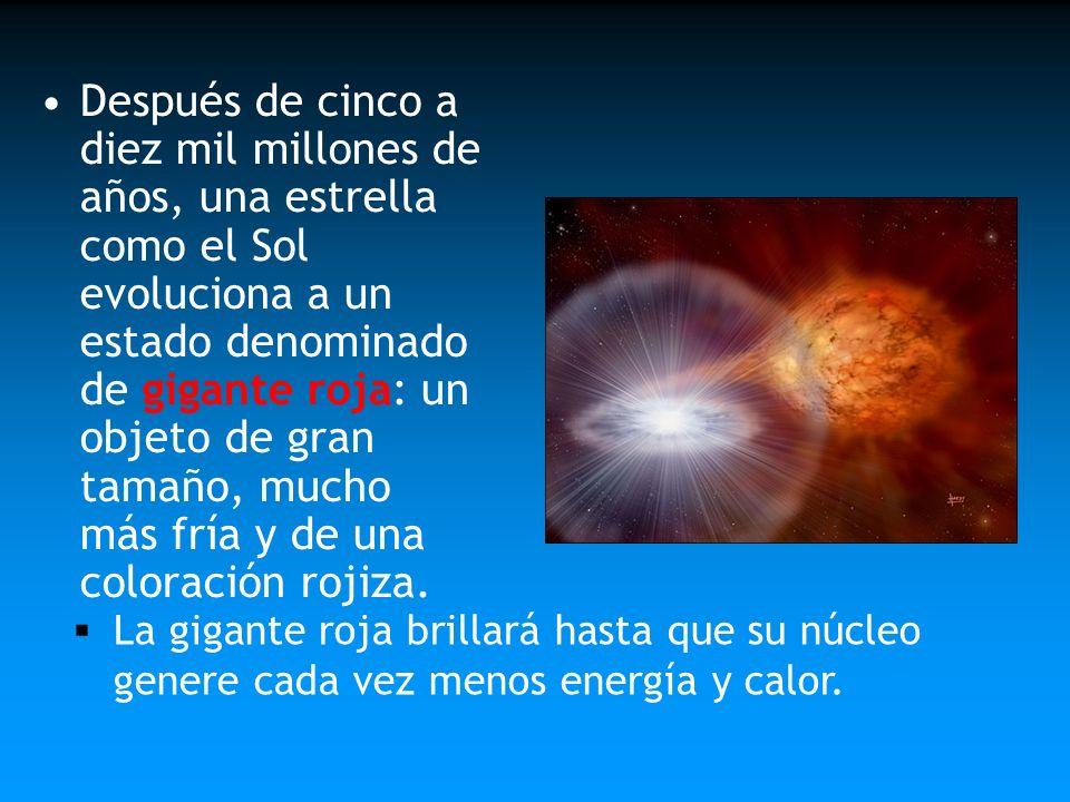 Después de cinco a diez mil millones de años, una estrella como el Sol evoluciona a un estado denominado de gigante roja: un objeto de gran tamaño, mu