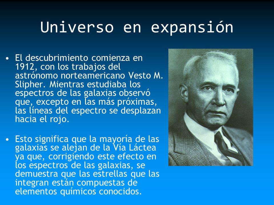 Universo en expansión El descubrimiento comienza en 1912, con los trabajos del astrónomo norteamericano Vesto M. Slipher. Mientras estudiaba los espec