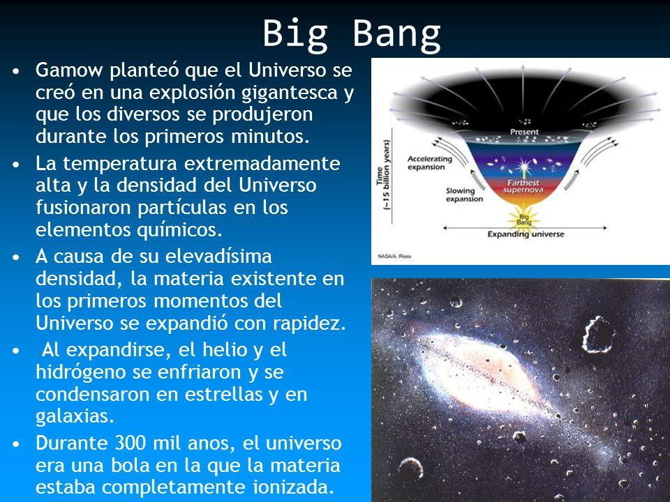 Big Bang Gamow planteó que el Universo se creó en una explosión gigantesca y que los diversos se produjeron durante los primeros minutos. La temperatu
