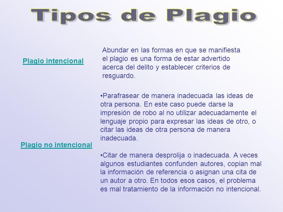 Plagio intencional Plagio no intencional Abundar en las formas en que se manifiesta el plagio es una forma de estar advertido acerca del delito y esta