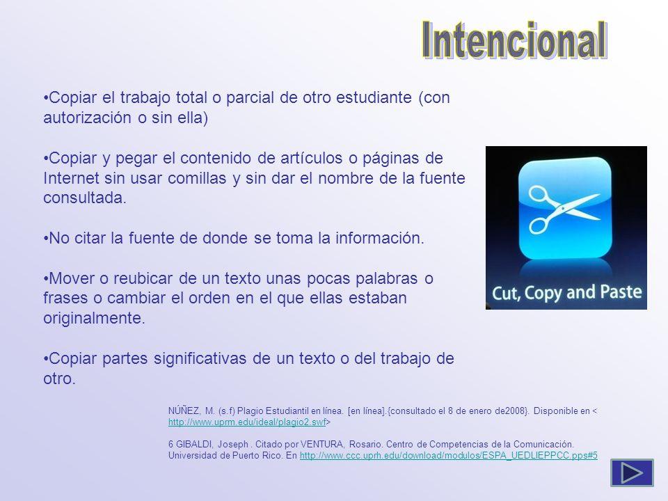 Copiar el trabajo total o parcial de otro estudiante (con autorización o sin ella) Copiar y pegar el contenido de artículos o páginas de Internet sin