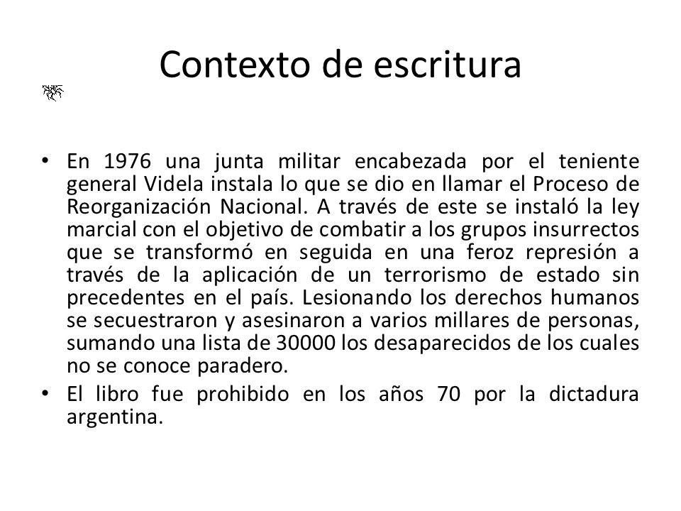 Contexto de escritura En 1976 una junta militar encabezada por el teniente general Videla instala lo que se dio en llamar el Proceso de Reorganización