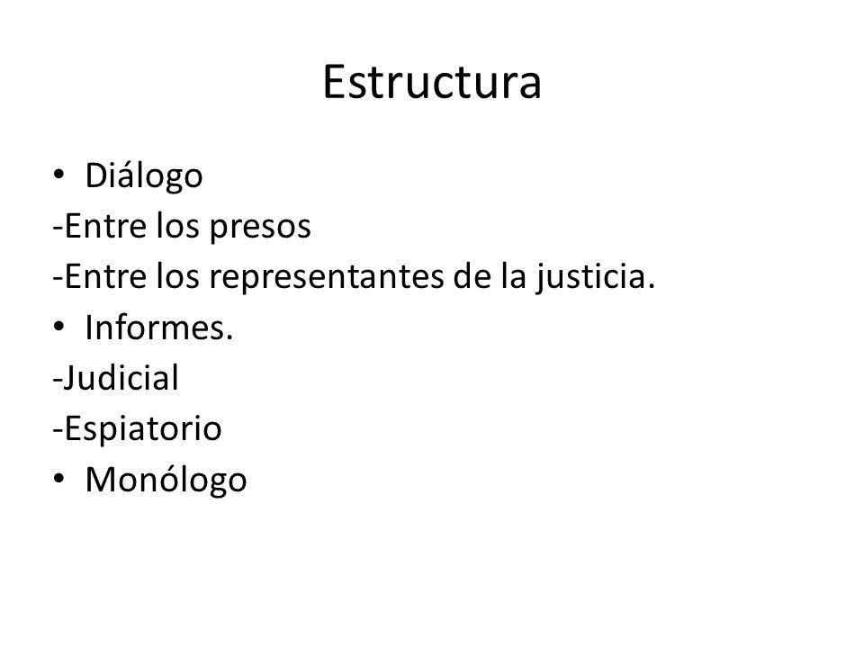Estructura Diálogo -Entre los presos -Entre los representantes de la justicia. Informes. -Judicial -Espiatorio Monólogo