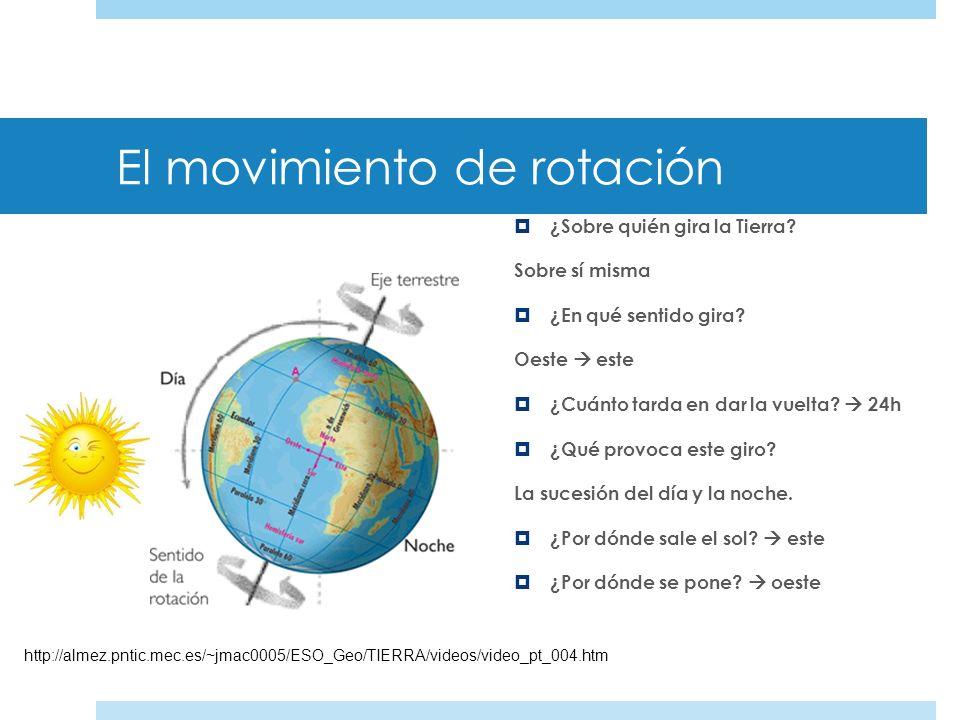 Los movimientos de la Tierra Movimiento de rotación: _____________________________. Se realiza sobre el eje terrestre, que se encuentra inclinado. Mov