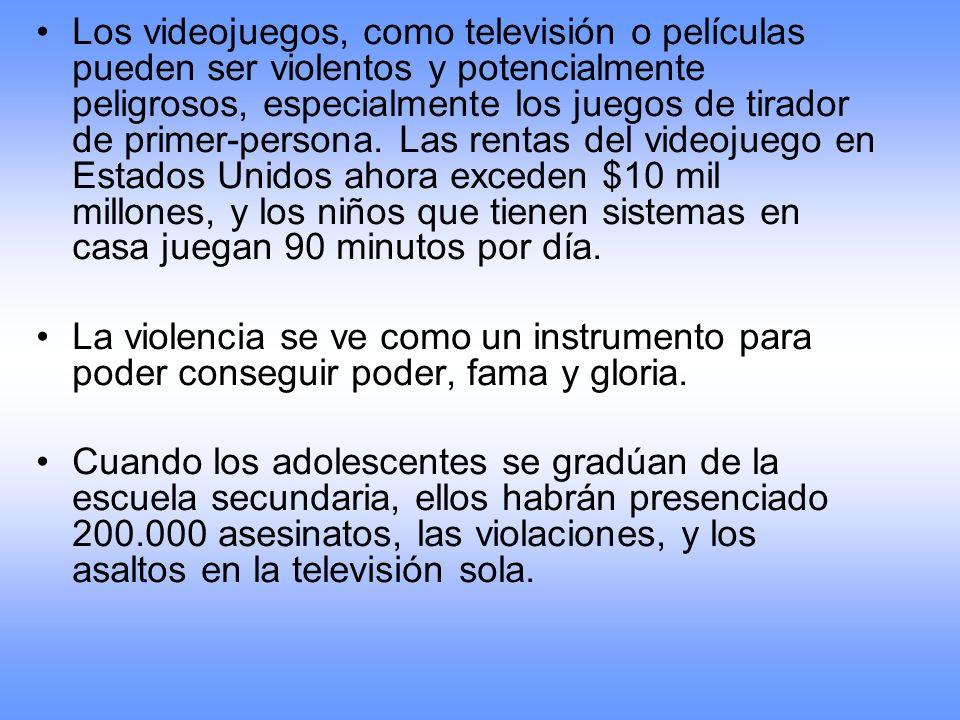 Los videojuegos, como televisión o películas pueden ser violentos y potencialmente peligrosos, especialmente los juegos de tirador de primer-persona.