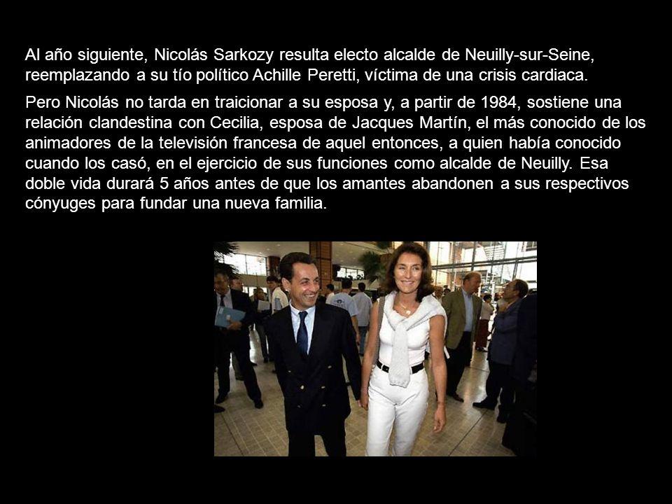 Al año siguiente, Nicolás Sarkozy resulta electo alcalde de Neuilly-sur-Seine, reemplazando a su tío político Achille Peretti, víctima de una crisis cardiaca.