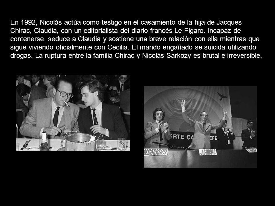 En 1992, Nicolás actúa como testigo en el casamiento de la hija de Jacques Chirac, Claudia, con un editorialista del diario francés Le Figaro.