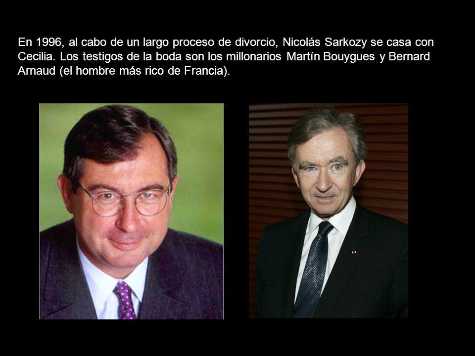 En 1996, al cabo de un largo proceso de divorcio, Nicolás Sarkozy se casa con Cecilia.