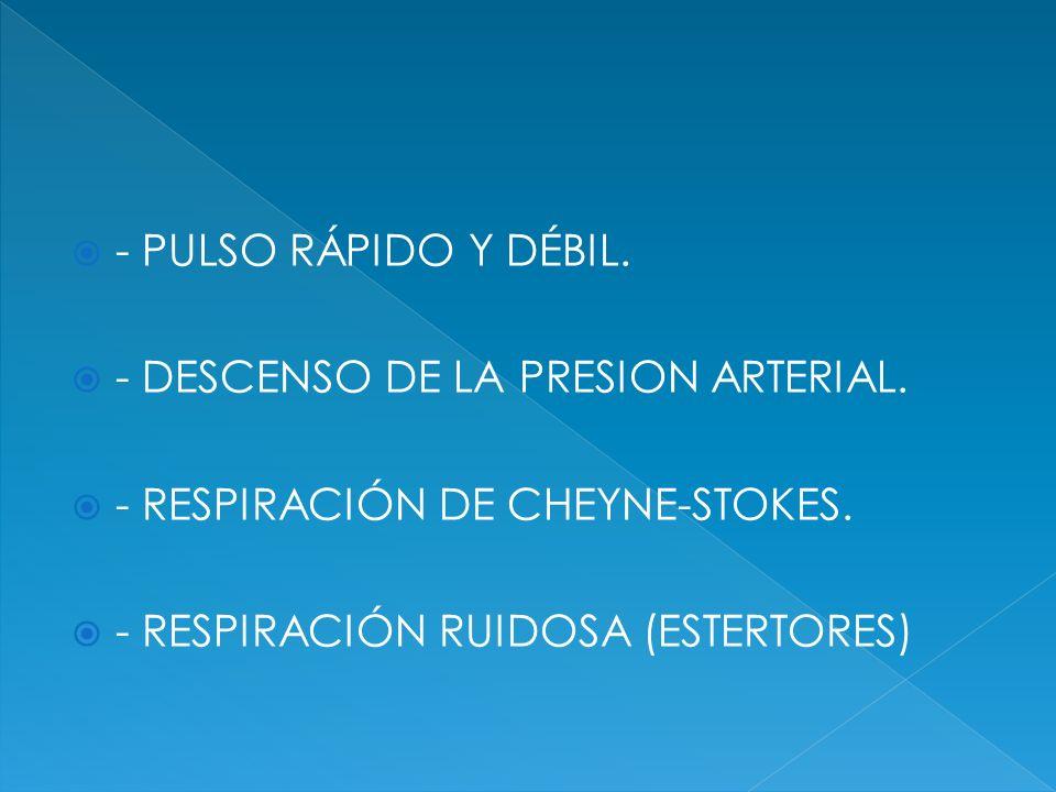 - PULSO RÁPIDO Y DÉBIL. - DESCENSO DE LA PRESION ARTERIAL. - RESPIRACIÓN DE CHEYNE-STOKES. - RESPIRACIÓN RUIDOSA (ESTERTORES)