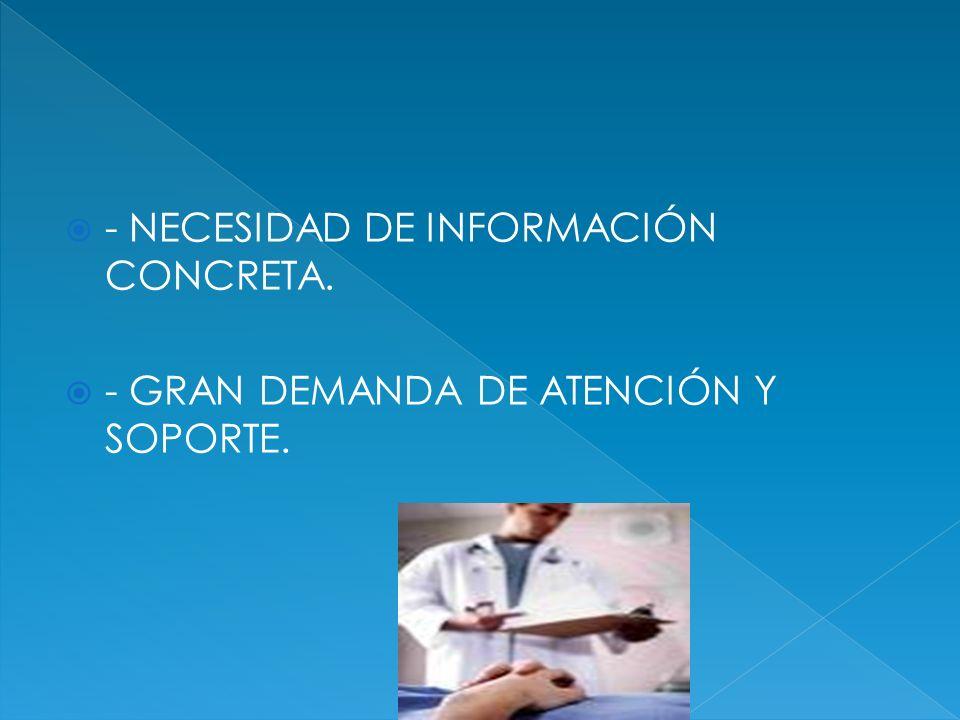 - NECESIDAD DE INFORMACIÓN CONCRETA. - GRAN DEMANDA DE ATENCIÓN Y SOPORTE.