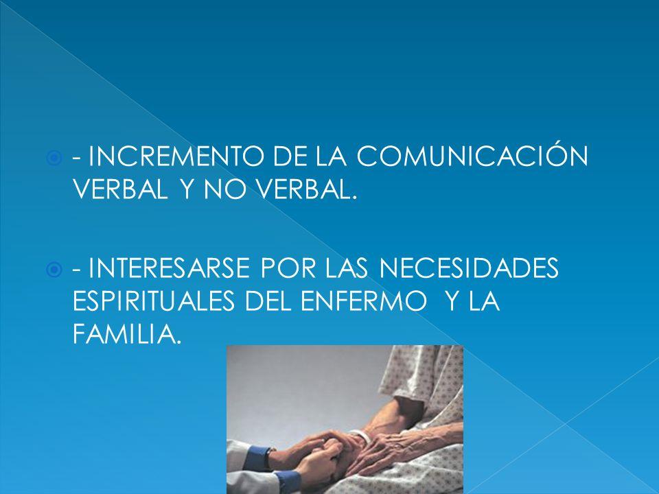 - INCREMENTO DE LA COMUNICACIÓN VERBAL Y NO VERBAL. - INTERESARSE POR LAS NECESIDADES ESPIRITUALES DEL ENFERMO Y LA FAMILIA.