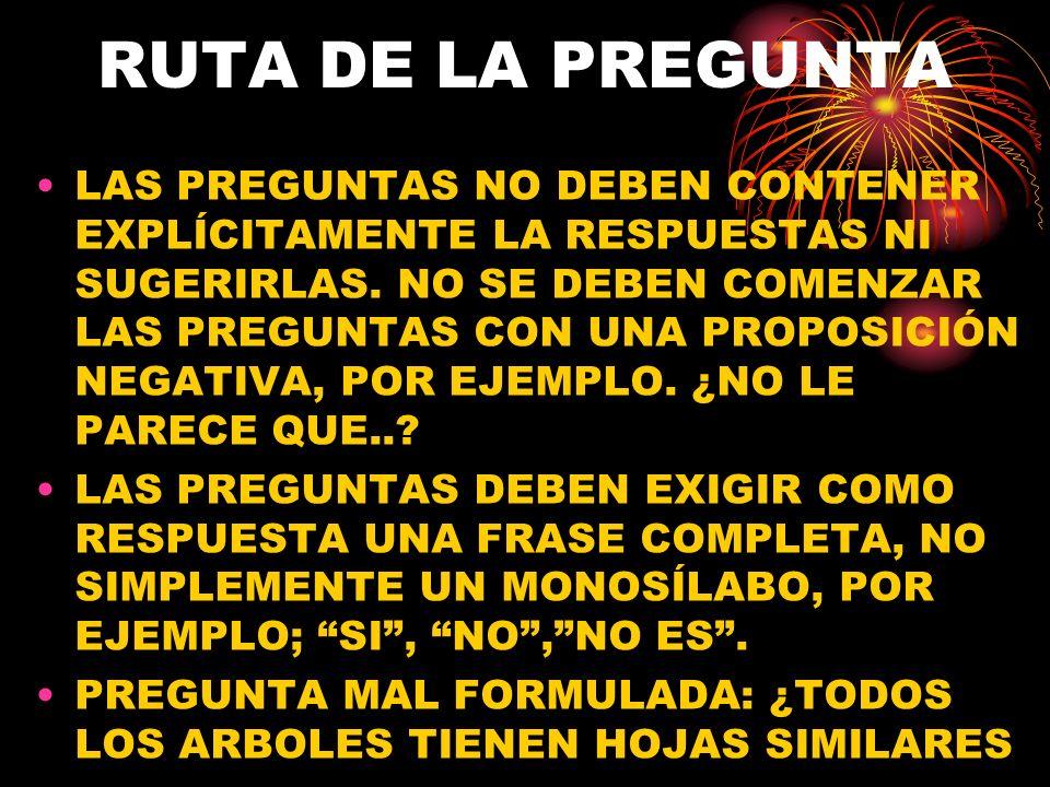 RUTA DE LA PREGUNTA LAS PREGUNTAS NO DEBEN CONTENER EXPLÍCITAMENTE LA RESPUESTAS NI SUGERIRLAS. NO SE DEBEN COMENZAR LAS PREGUNTAS CON UNA PROPOSICIÓN