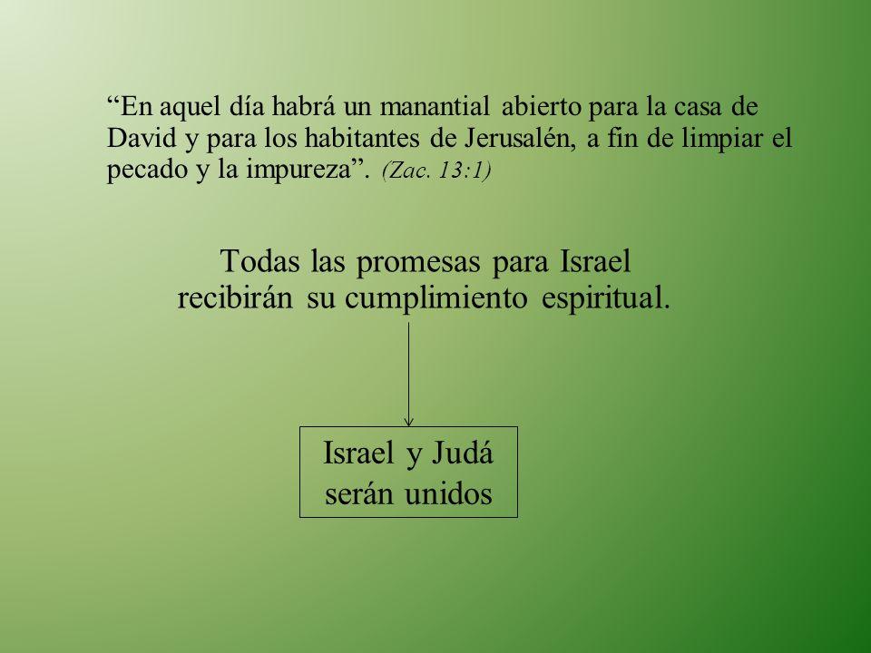 En aquel día habrá un manantial abierto para la casa de David y para los habitantes de Jerusalén, a fin de limpiar el pecado y la impureza. (Zac. 13:1