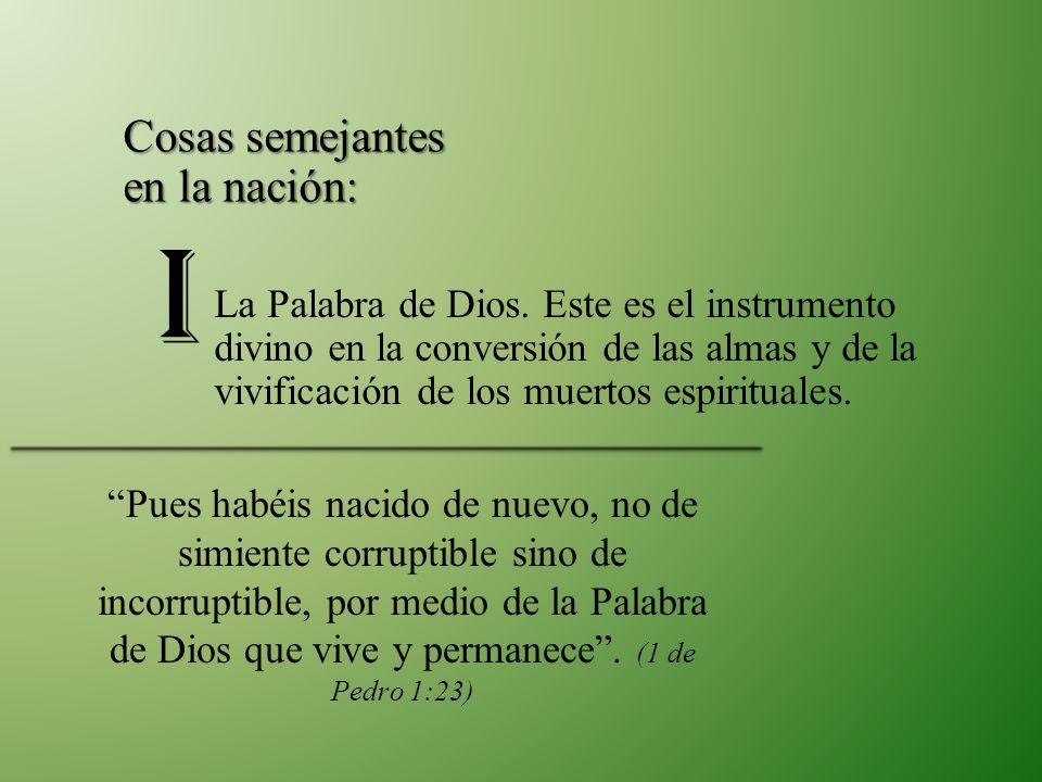 La Palabra de Dios. Este es el instrumento divino en la conversión de las almas y de la vivificación de los muertos espirituales. Cosas semejantes en