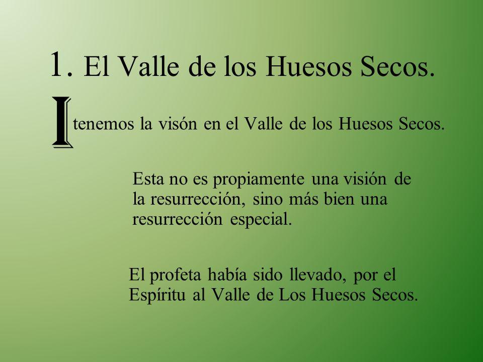 1. El Valle de los Huesos Secos. tenemos la visón en el Valle de los Huesos Secos. I Esta no es propiamente una visión de la resurrección, sino más bi