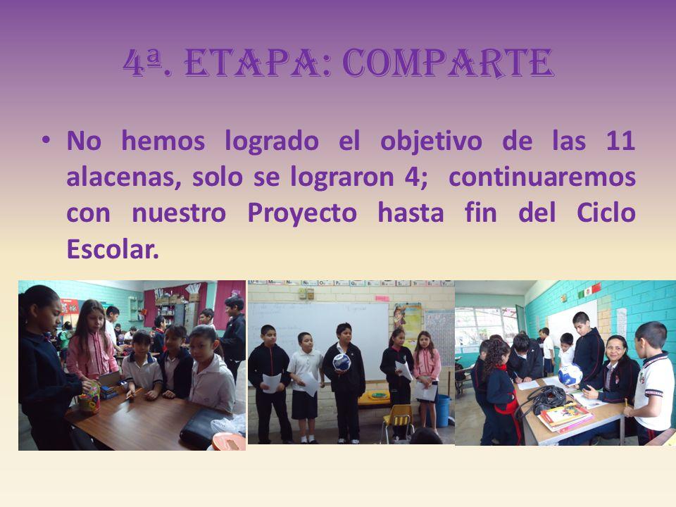 No hemos logrado el objetivo de las 11 alacenas, solo se lograron 4; continuaremos con nuestro Proyecto hasta fin del Ciclo Escolar.