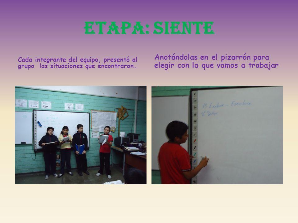 ETAPA: SIENTE Cada integrante del equipo, presentó al grupo las situaciones que encontraron. Anotándolas en el pizarrón para elegir con la que vamos a