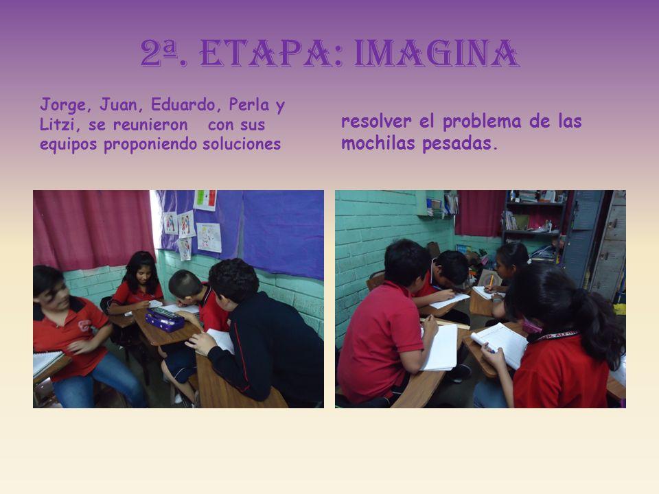 2ª. Etapa: imagina Jorge, Juan, Eduardo, Perla y Litzi, se reunieron con sus equipos proponiendo soluciones resolver el problema de las mochilas pesad