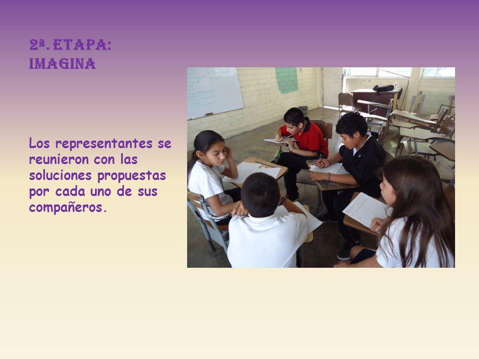 2ª. Etapa: imagina Los representantes se reunieron con las soluciones propuestas por cada uno de sus compañeros.