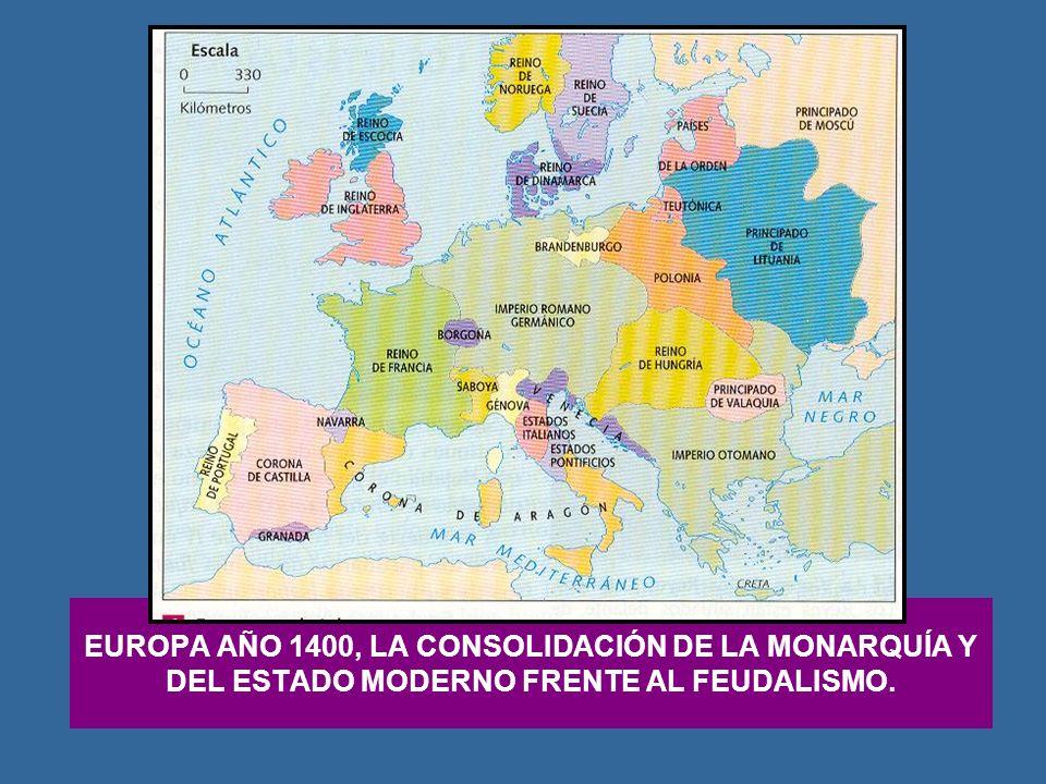 EUROPA AÑO 1400, LA CONSOLIDACIÓN DE LA MONARQUÍA Y DEL ESTADO MODERNO FRENTE AL FEUDALISMO.