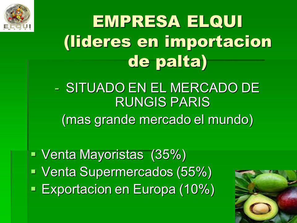 EMPRESA ELQUI (lideres en importacion de palta) -SITUADO EN EL MERCADO DE RUNGIS PARIS (mas grande mercado el mundo) Venta Mayoristas (35%) Venta Mayo