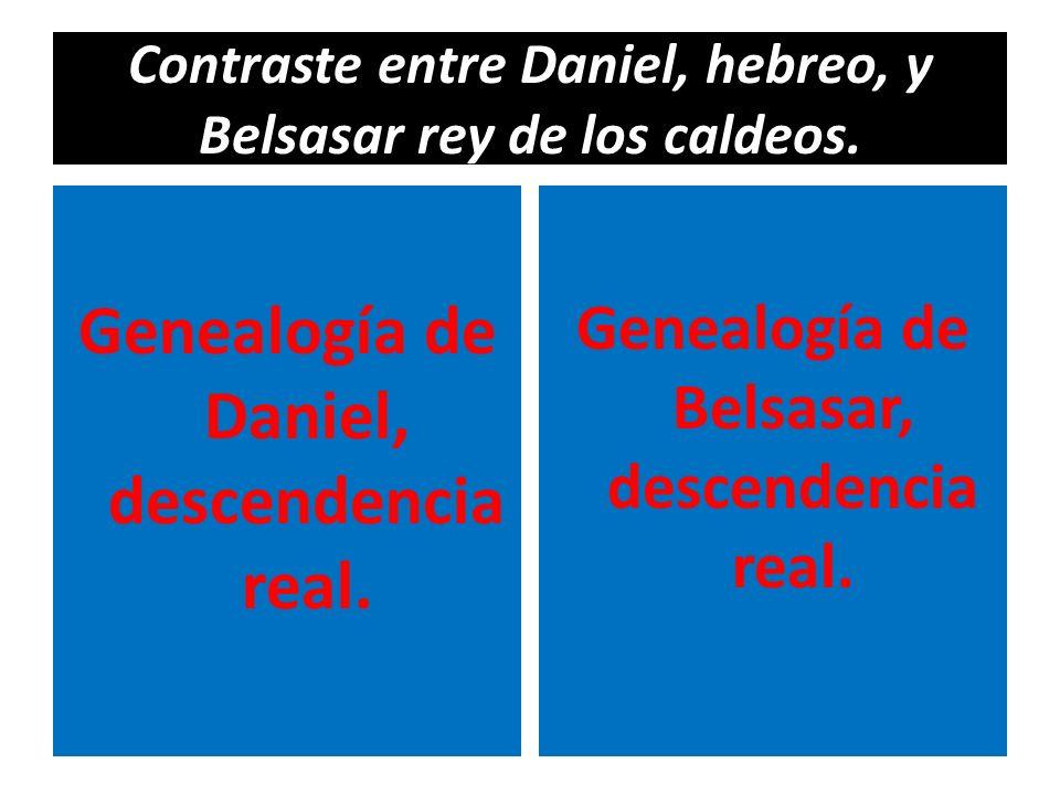 Contraste entre Daniel, hebreo, y Belsasar rey de los caldeos. Genealogía de Daniel, descendencia real. Genealogía de Belsasar, descendencia real.