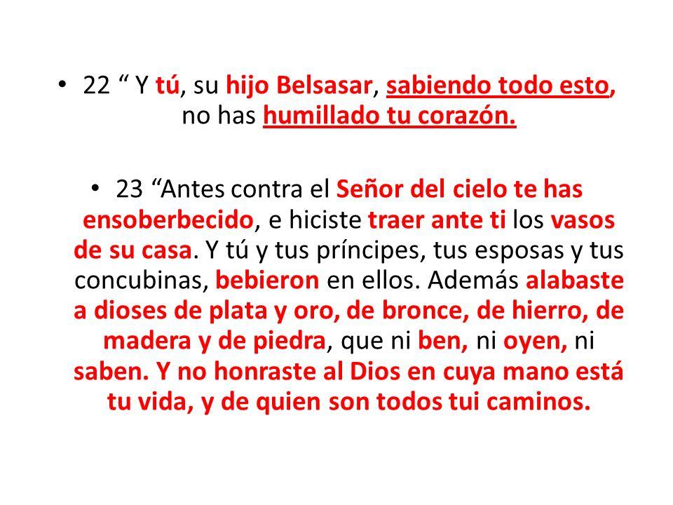 22 Y tú, su hijo Belsasar, sabiendo todo esto, no has humillado tu corazón. 23 Antes contra el Señor del cielo te has ensoberbecido, e hiciste traer a