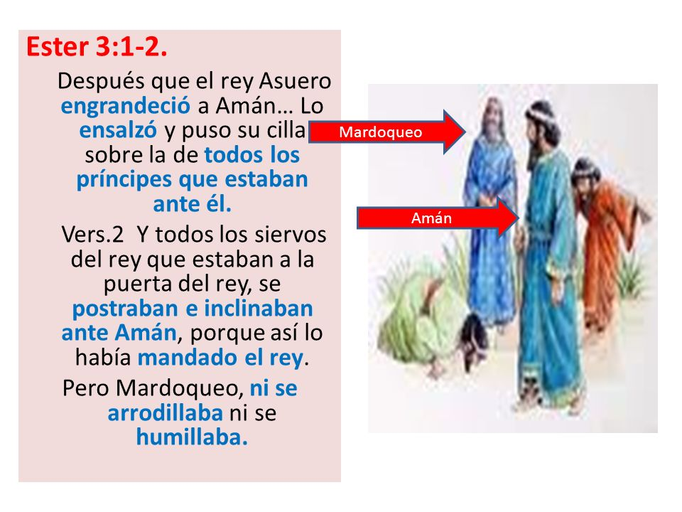 Ester 3:1-2. Después que el rey Asuero engrandeció a Amán… Lo ensalzó y puso su cilla sobre la de todos los príncipes que estaban ante él. Vers.2 Y to