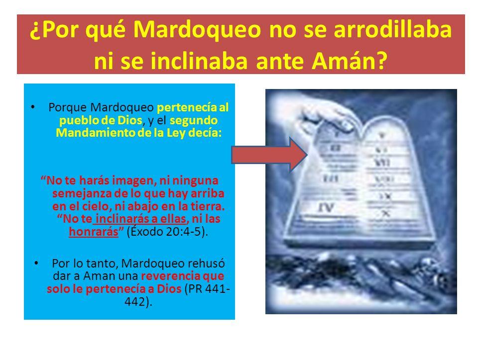 ¿Por qué Mardoqueo no se arrodillaba ni se inclinaba ante Amán? Porque Mardoqueo pertenecía al pueblo de Dios, y el segundo Mandamiento de la Ley decí