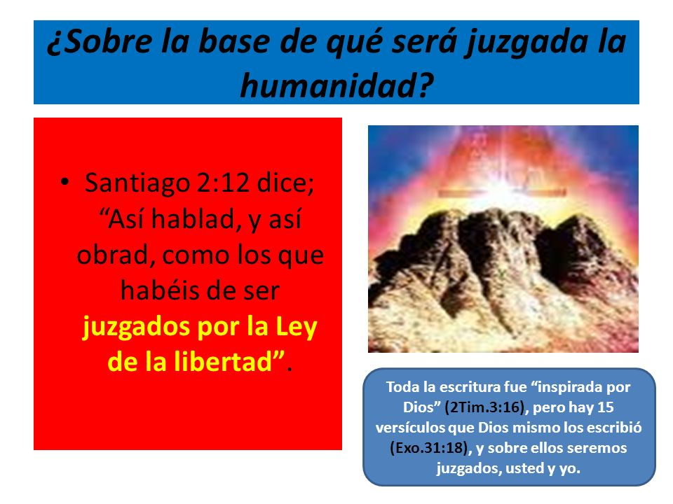 ¿Sobre la base de qué será juzgada la humanidad? Santiago 2:12 dice; Así hablad, y así obrad, como los que habéis de ser juzgados por la Ley de la lib