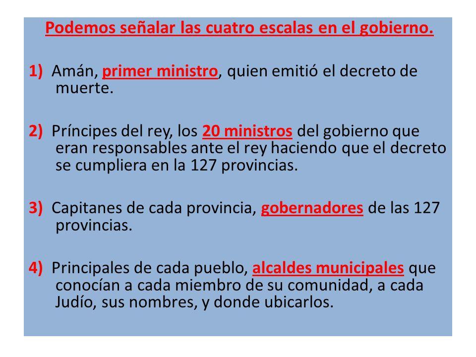 Podemos señalar las cuatro escalas en el gobierno. 1) Amán, primer ministro, quien emitió el decreto de muerte. 2) Príncipes del rey, los 20 ministros