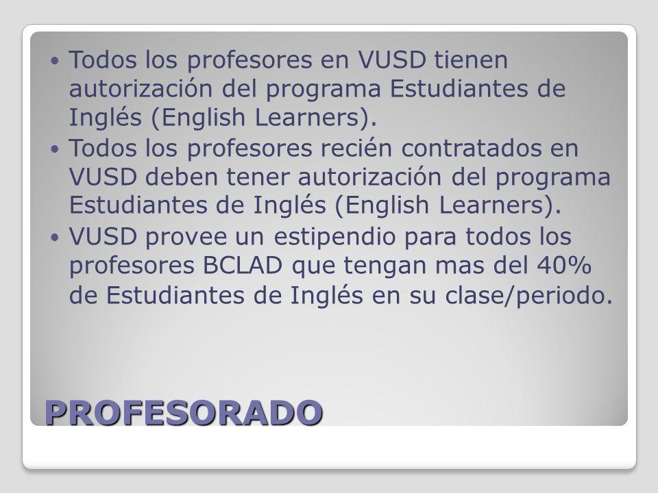 PROFESORADO Todos los profesores en VUSD tienen autorización del programa Estudiantes de Inglés (English Learners).