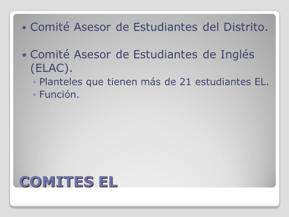 COMITES EL Comité Asesor de Estudiantes del Distrito.
