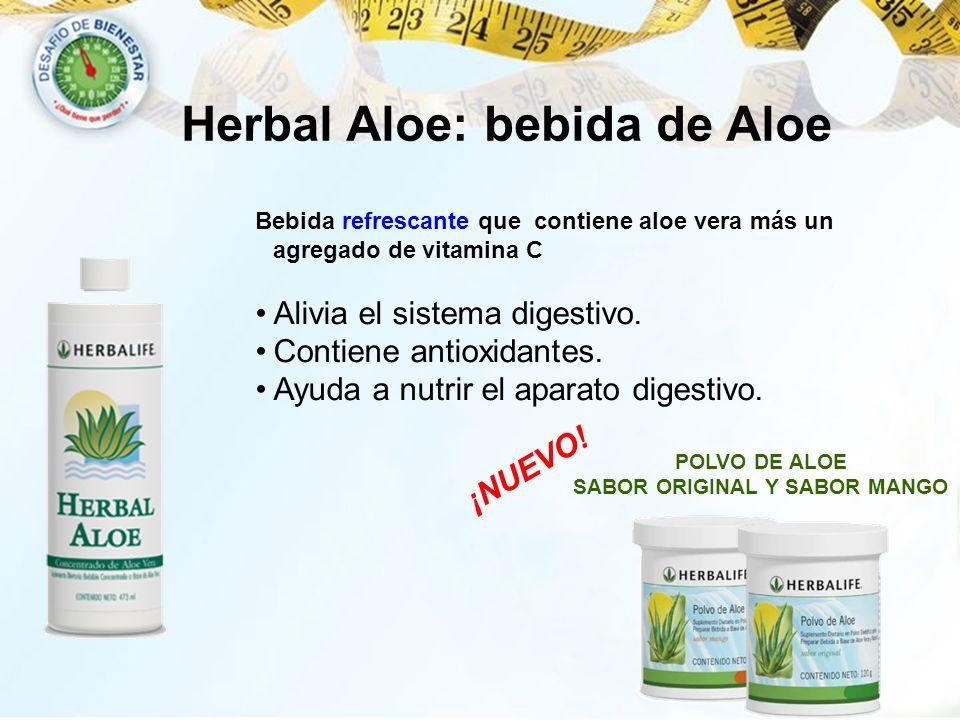 Herbal Aloe: bebida de Aloe ¡NUEVO! POLVO DE ALOE SABOR ORIGINAL Y SABOR MANGO Bebida refrescante que contiene aloe vera más un agregado de vitamina C