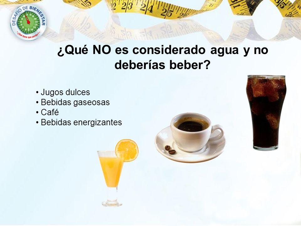 ¿Qué NO es considerado agua y no deberías beber? Jugos dulces Bebidas gaseosas Café Bebidas energizantes