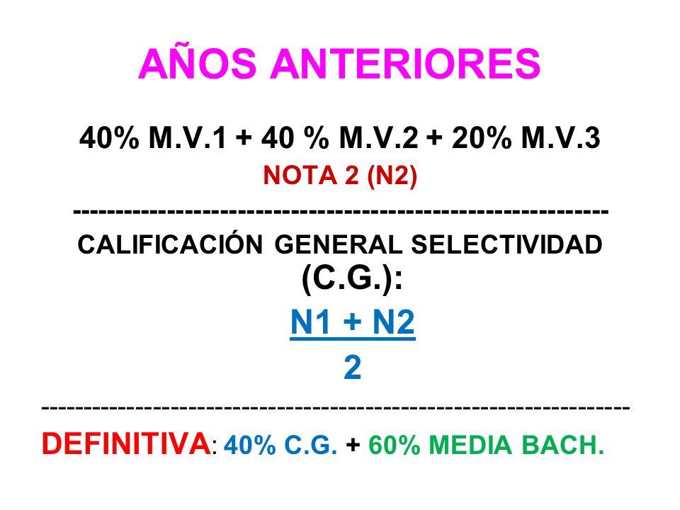 AÑOS ANTERIORES 40% M.V.1 + 40 % M.V.2 + 20% M.V.3 NOTA 2 (N2) ------------------------------------------------------------- CALIFICACIÓN GENERAL SELE