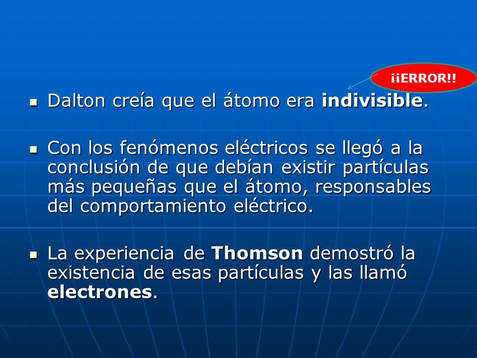 Dalton creía que el átomo era indivisible. Dalton creía que el átomo era indivisible. Con los fenómenos eléctricos se llegó a la conclusión de que deb