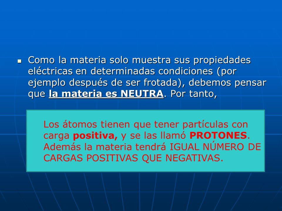 MASA Y CARGA DEL PROTÓN El protón tiene la misma carga que el electrón, pero positiva: El protón tiene la misma carga que el electrón, pero positiva: La masa del protón es 1840 veces mayor que la del electrón.
