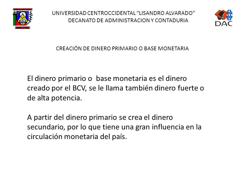UNIVERSIDAD CENTROCCIDENTAL LISANDRO ALVARADO DECANATO DE ADMINISTRACION Y CONTADURIA COMPONENTES DE LA LIQUIDEZ MONETARIA CIRCULANTE (M1) = Monedas y