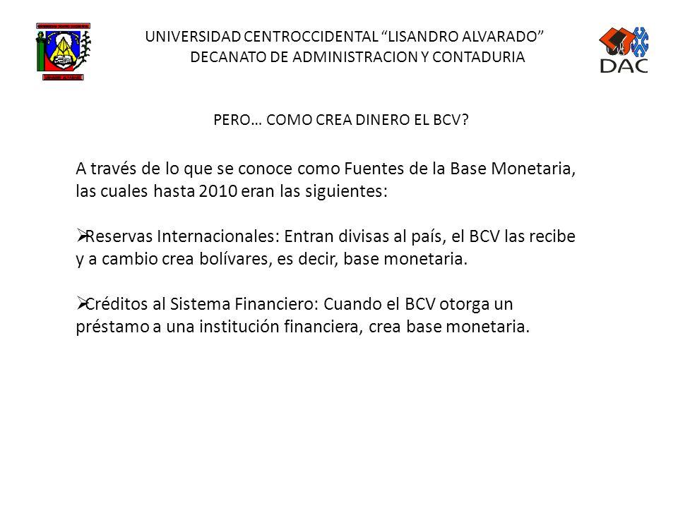 UNIVERSIDAD CENTROCCIDENTAL LISANDRO ALVARADO DECANATO DE ADMINISTRACION Y CONTADURIA CREACIÓN DE DINERO PRIMARIO O BASE MONETARIA El dinero primario