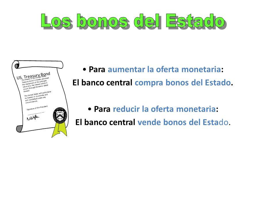 La oferta monetaria = la cantidad de dinero existente en una economía El control de la oferta monetaria: Política monetaria El banco central controla