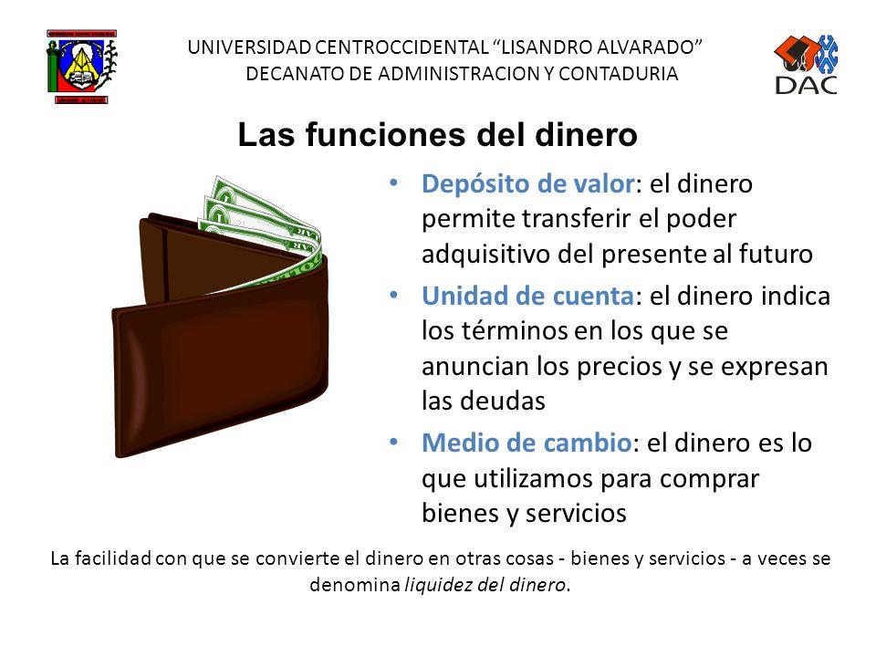 UNIVERSIDAD CENTROCCIDENTAL LISANDRO ALVARADO DECANATO DE ADMINISTRACION Y CONTADURIA Cantidad de activos Utilizado para transacciones Un tipo de riqu
