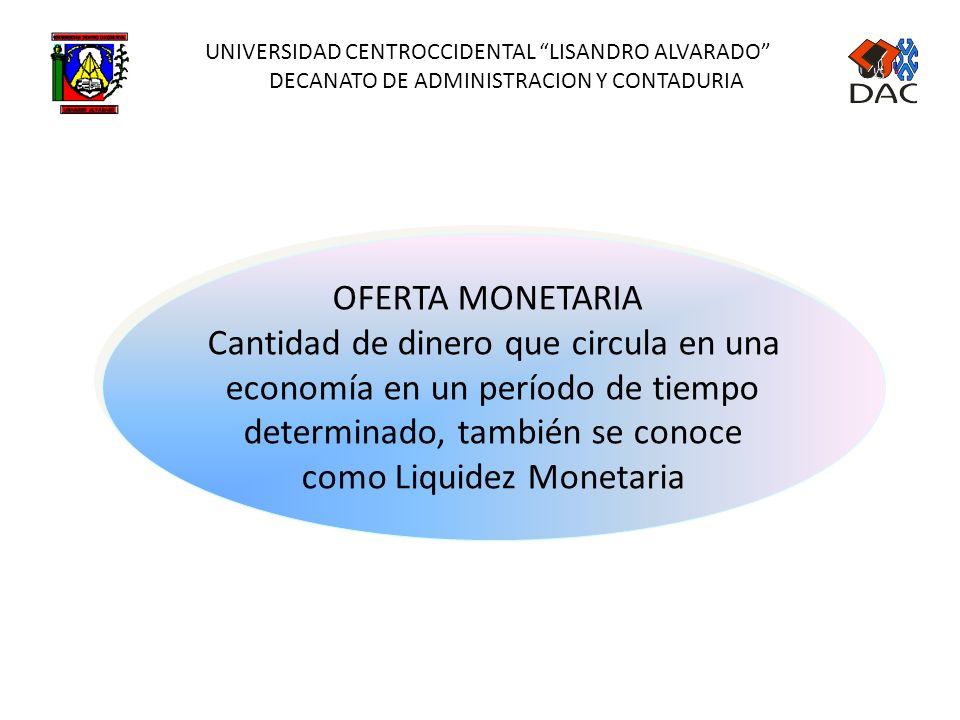 UNIVERSIDAD CENTROCCIDENTAL LISANDRO ALVARADO DECANATO DE ADMINISTRACION Y CONTADURIA OFERTA MONETARIA Cantidad de dinero que circula en una economía en un período de tiempo determinado, también se conoce como Liquidez Monetaria OFERTA MONETARIA Cantidad de dinero que circula en una economía en un período de tiempo determinado, también se conoce como Liquidez Monetaria