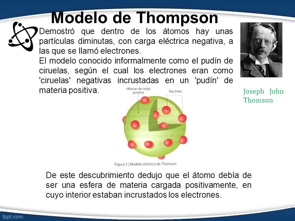 Modelo de Thompson Demostró que dentro de los átomos hay unas partículas diminutas, con carga eléctrica negativa, a las que se llamó electrones. El mo