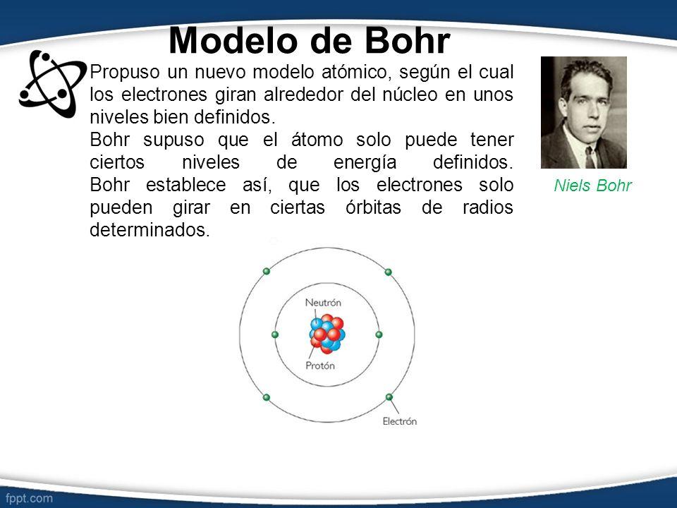 Modelo de Bohr Propuso un nuevo modelo atómico, según el cual los electrones giran alrededor del núcleo en unos niveles bien definidos. Bohr supuso qu